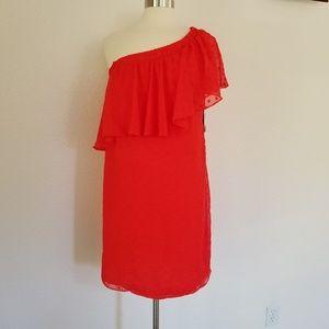 NWT Vince Camuto Dot Jacquard One-Shoulder Dress